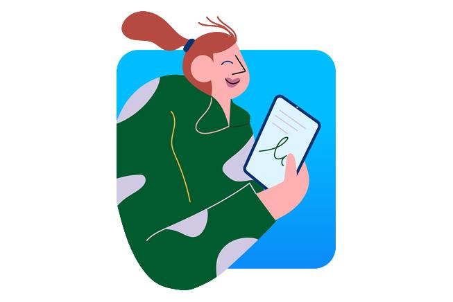 表示妇女的例证使用iPad。.