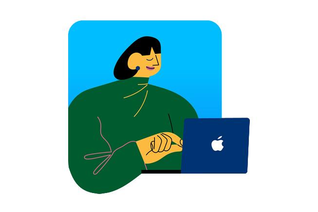 表示一名妇女的例证使用MacBook。